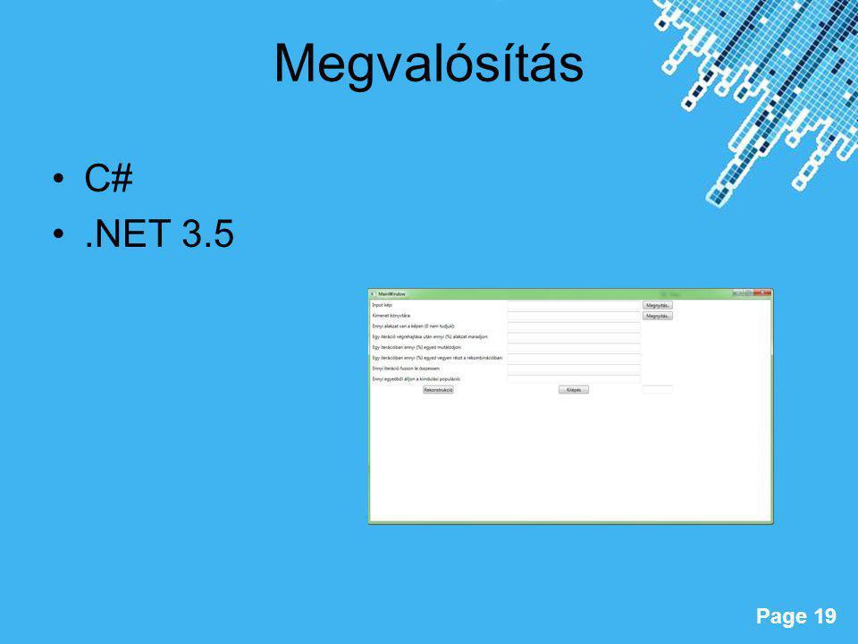 Megvalósítás C# .NET 3.5