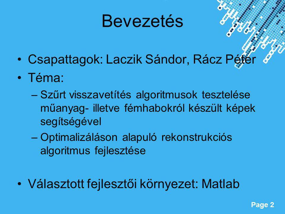 Bevezetés Csapattagok: Laczik Sándor, Rácz Péter Téma: