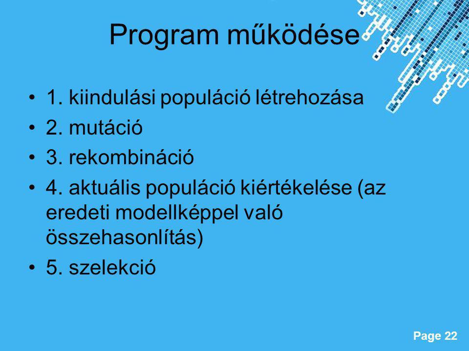 Program működése 1. kiindulási populáció létrehozása 2. mutáció