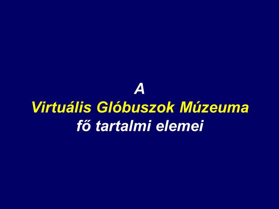 A Virtuális Glóbuszok Múzeuma fő tartalmi elemei