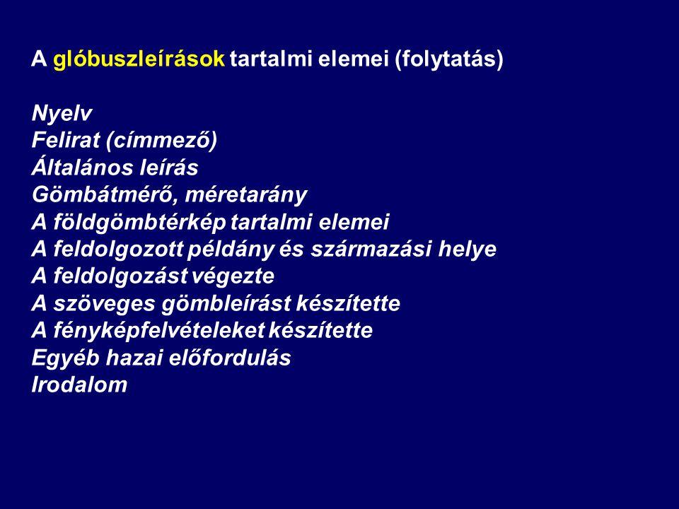 A glóbuszleírások tartalmi elemei (folytatás)