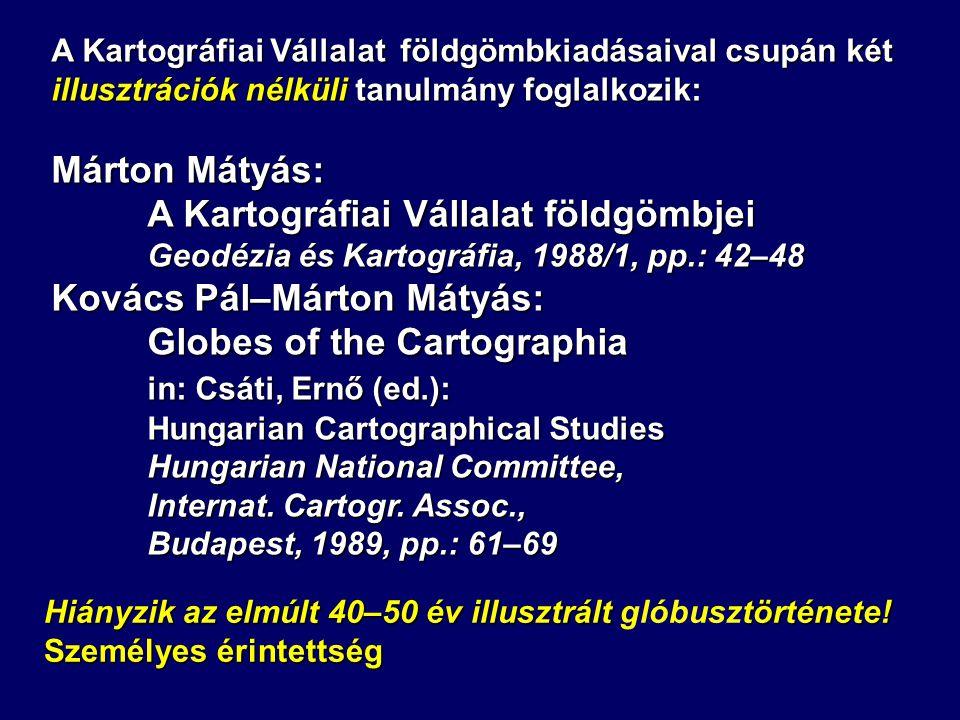 A Kartográfiai Vállalat földgömbjei Kovács Pál–Márton Mátyás: