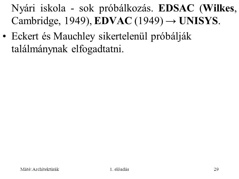 Eckert és Mauchley sikertelenül próbálják találmánynak elfogadtatni.
