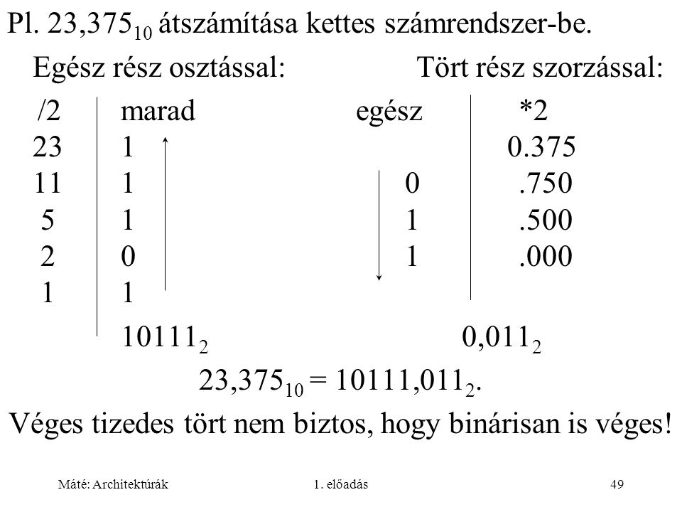 Véges tizedes tört nem biztos, hogy binárisan is véges!