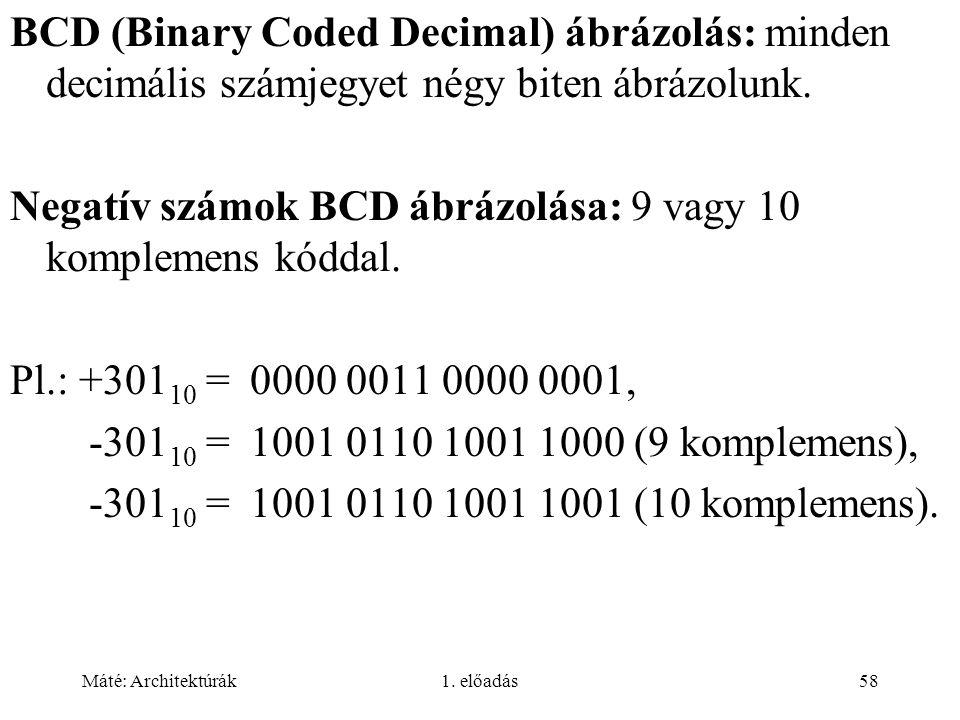 Negatív számok BCD ábrázolása: 9 vagy 10 komplemens kóddal.