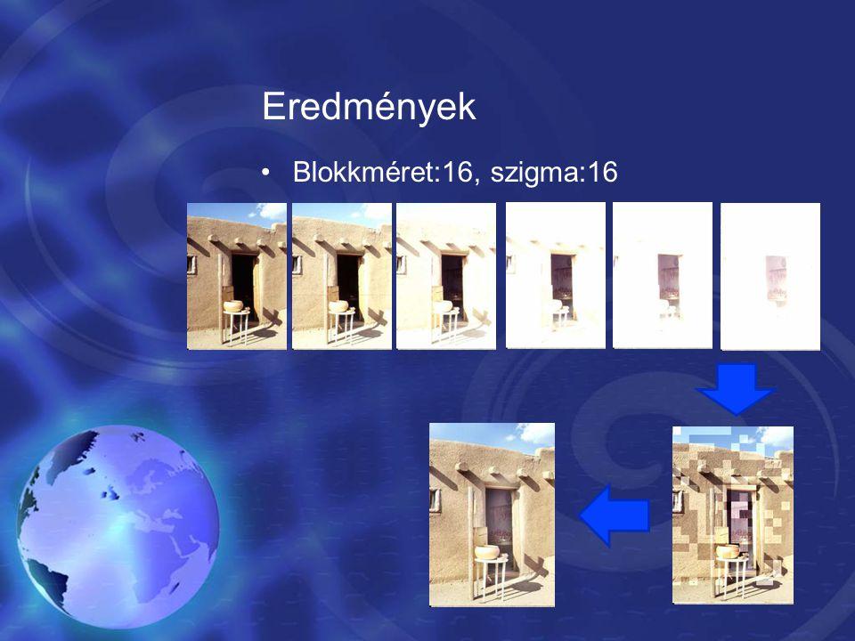 Eredmények Blokkméret:16, szigma:16