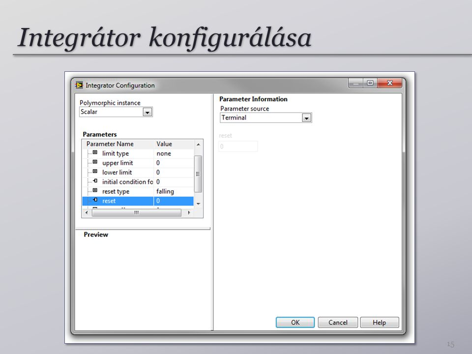 Integrátor konfigurálása