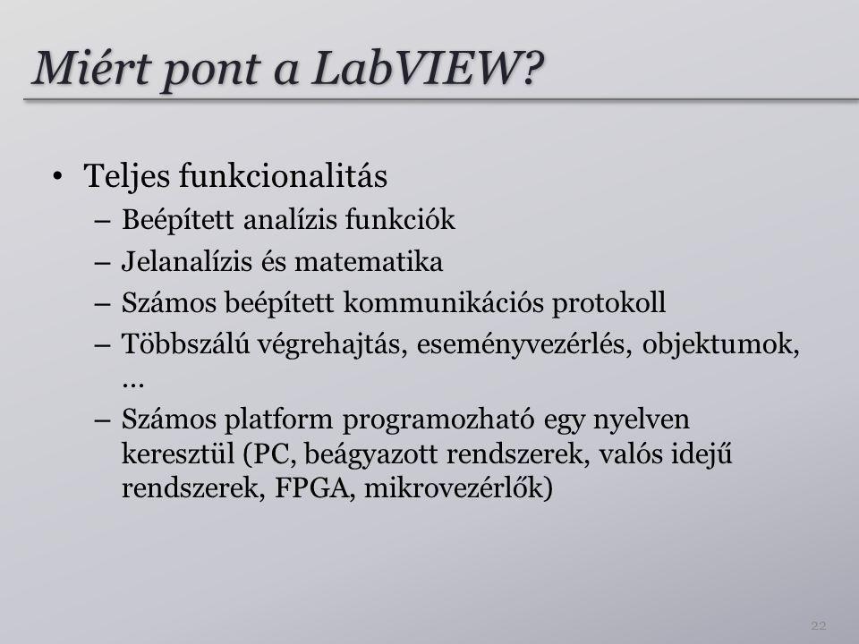 Miért pont a LabVIEW Teljes funkcionalitás