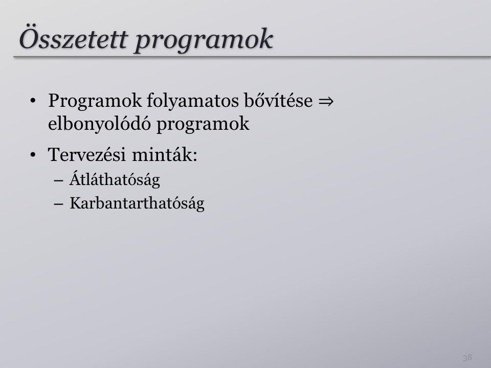 Összetett programok Programok folyamatos bővítése ⇒ elbonyolódó programok. Tervezési minták: Átláthatóság.