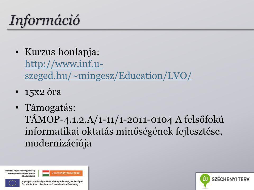 Információ Kurzus honlapja: http://www.inf.u- szeged.hu/~mingesz/Education/LVO/ 15x2 óra.