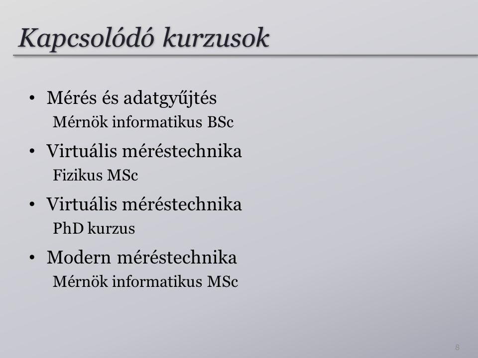 Kapcsolódó kurzusok Mérés és adatgyűjtés Virtuális méréstechnika