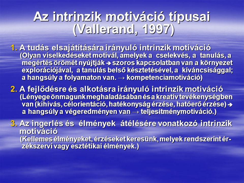 Az intrinzik motiváció típusai (Vallerand, 1997)