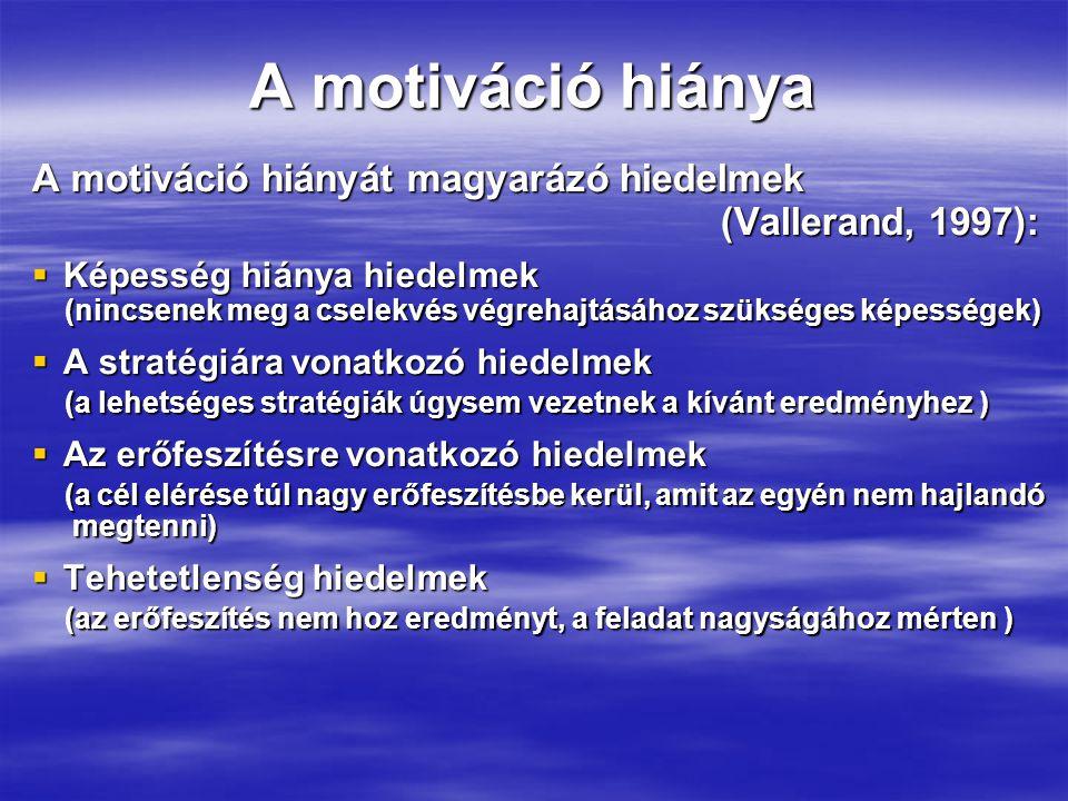 A motiváció hiánya A motiváció hiányát magyarázó hiedelmek