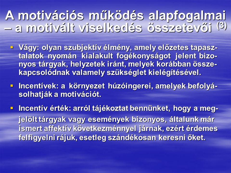 A motivációs működés alapfogalmai – a motivált viselkedés összetevői (3)