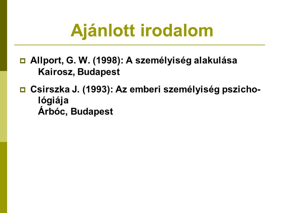 Ajánlott irodalom Allport, G. W. (1998): A személyiség alakulása