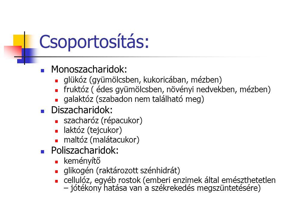 Csoportosítás: Monoszacharidok: Diszacharidok: Poliszacharidok: