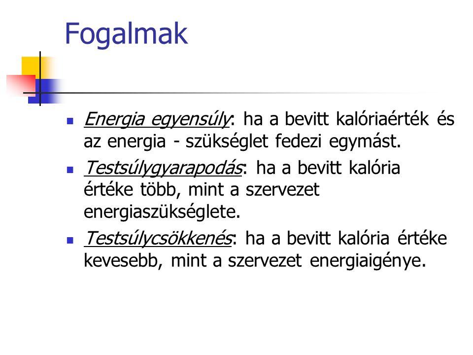 Fogalmak Energia egyensúly: ha a bevitt kalóriaérték és az energia - szükséglet fedezi egymást.