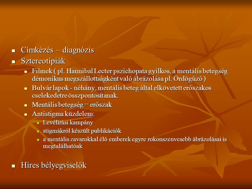 Címkézés – diagnózis Sztereotípiák Híres bélyegviselők