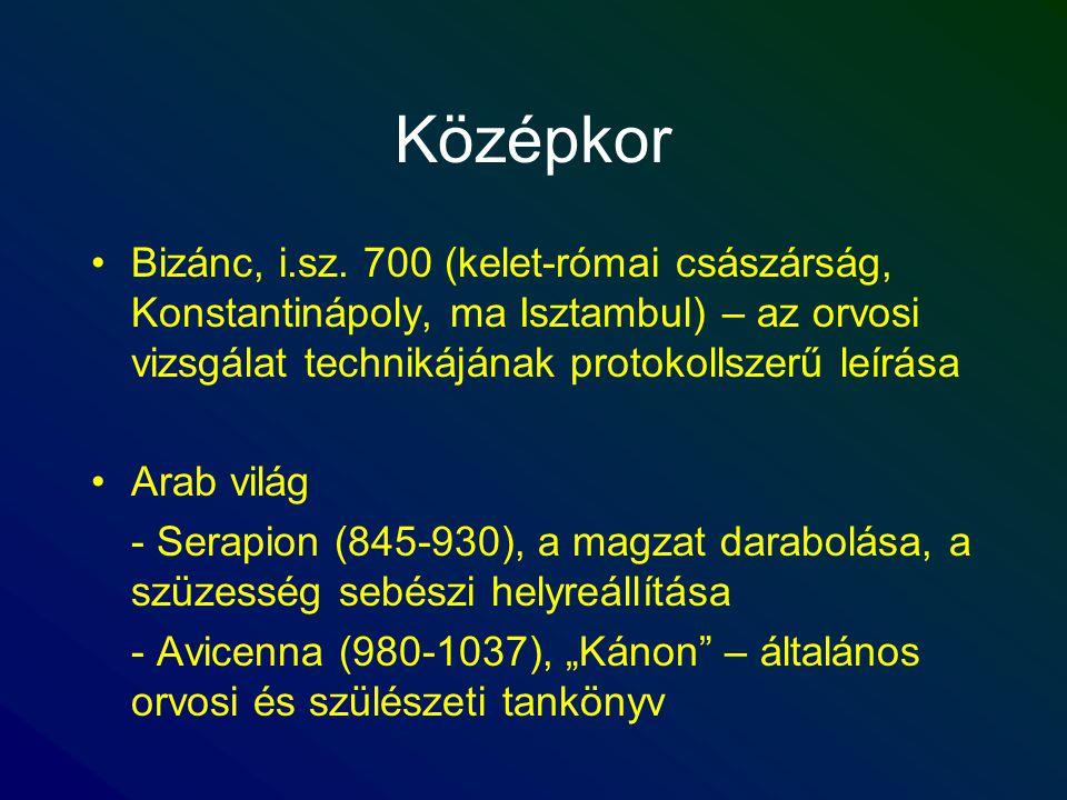 Középkor Bizánc, i.sz. 700 (kelet-római császárság, Konstantinápoly, ma Isztambul) – az orvosi vizsgálat technikájának protokollszerű leírása.