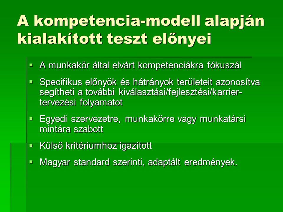 A kompetencia-modell alapján kialakított teszt előnyei