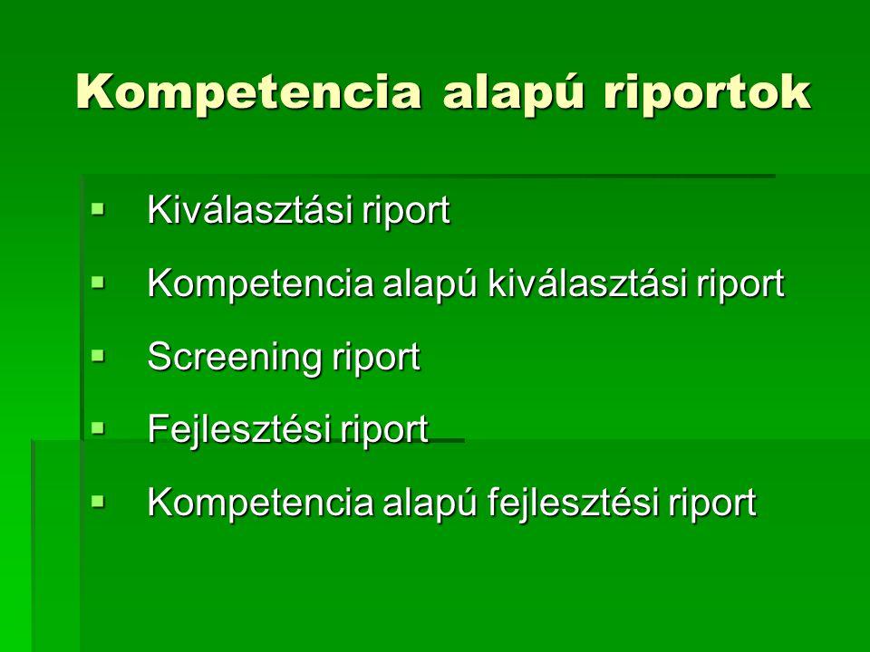 Kompetencia alapú riportok