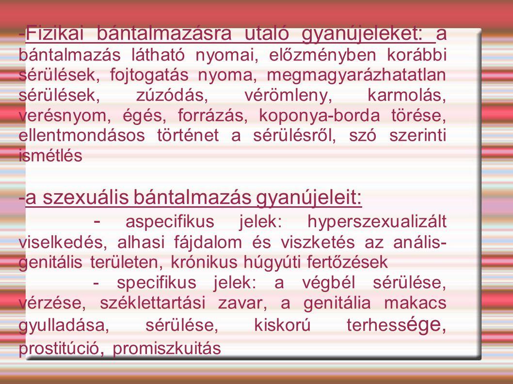 -a szexuális bántalmazás gyanújeleit: