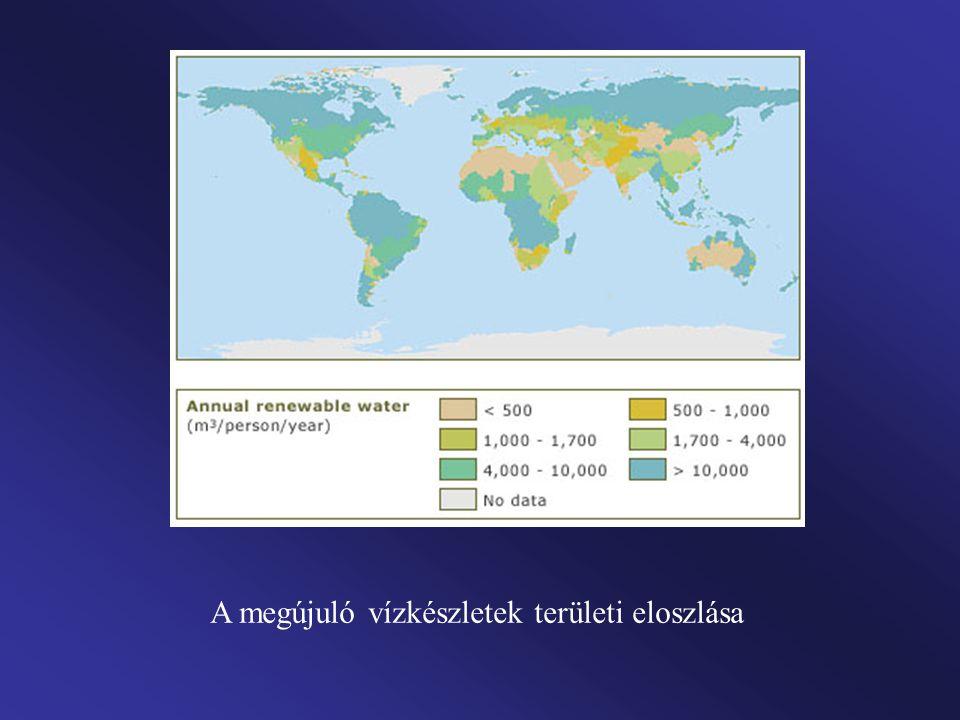 A megújuló vízkészletek területi eloszlása