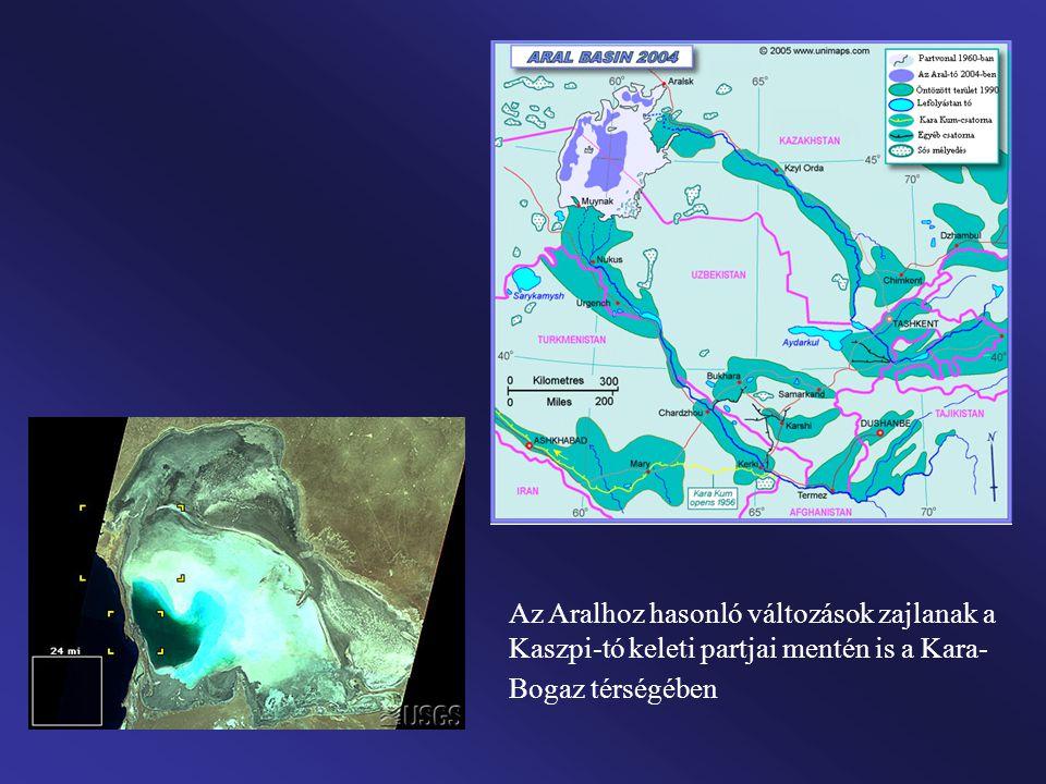 Az Aralhoz hasonló változások zajlanak a Kaszpi-tó keleti partjai mentén is a Kara-Bogaz térségében