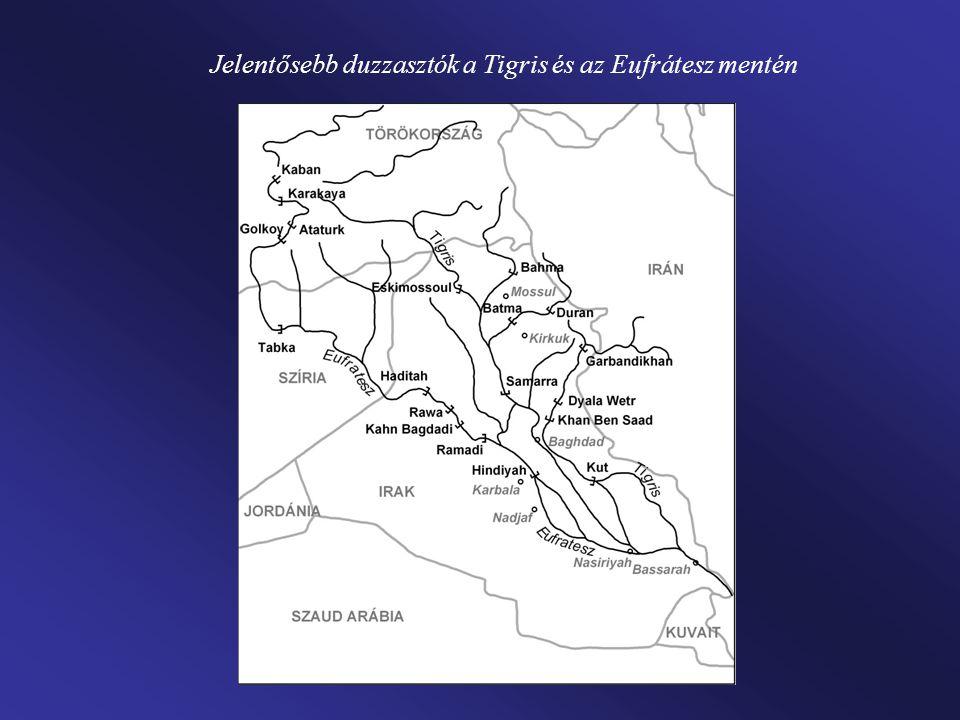 Jelentősebb duzzasztók a Tigris és az Eufrátesz mentén