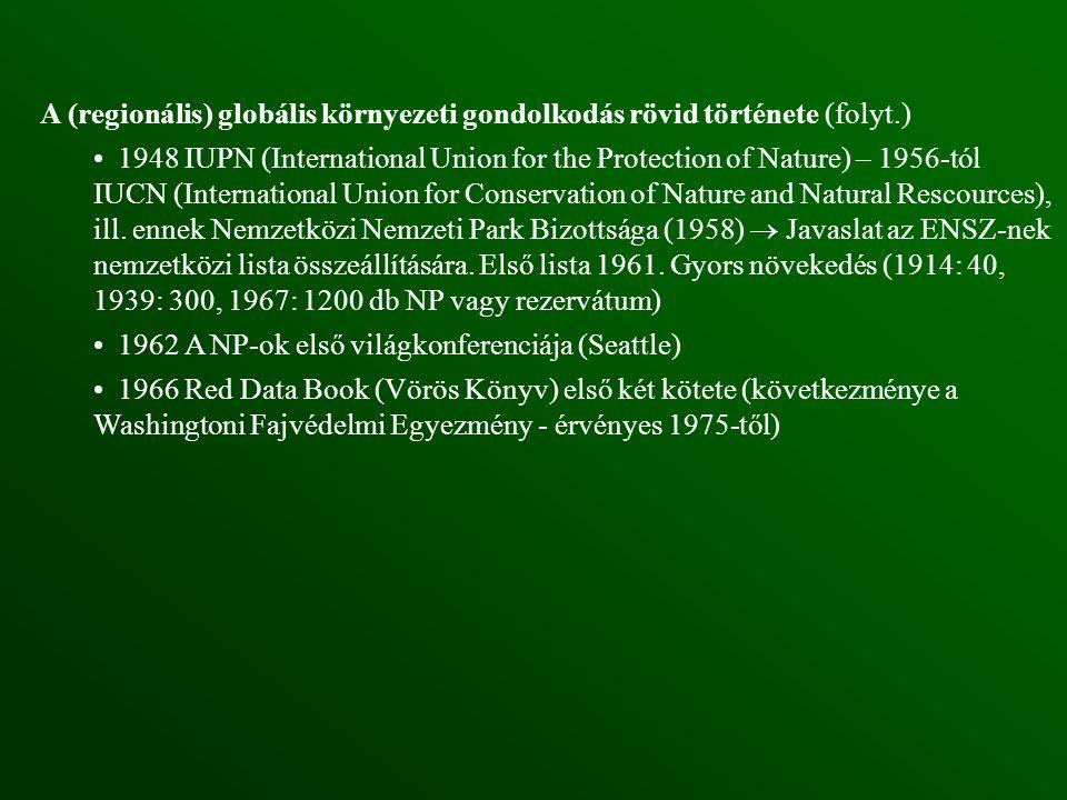 A (regionális) globális környezeti gondolkodás rövid története (folyt
