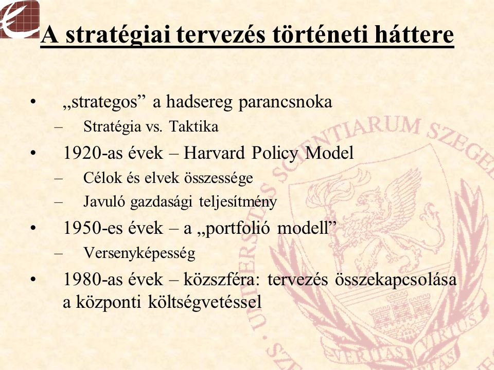 A stratégiai tervezés történeti háttere