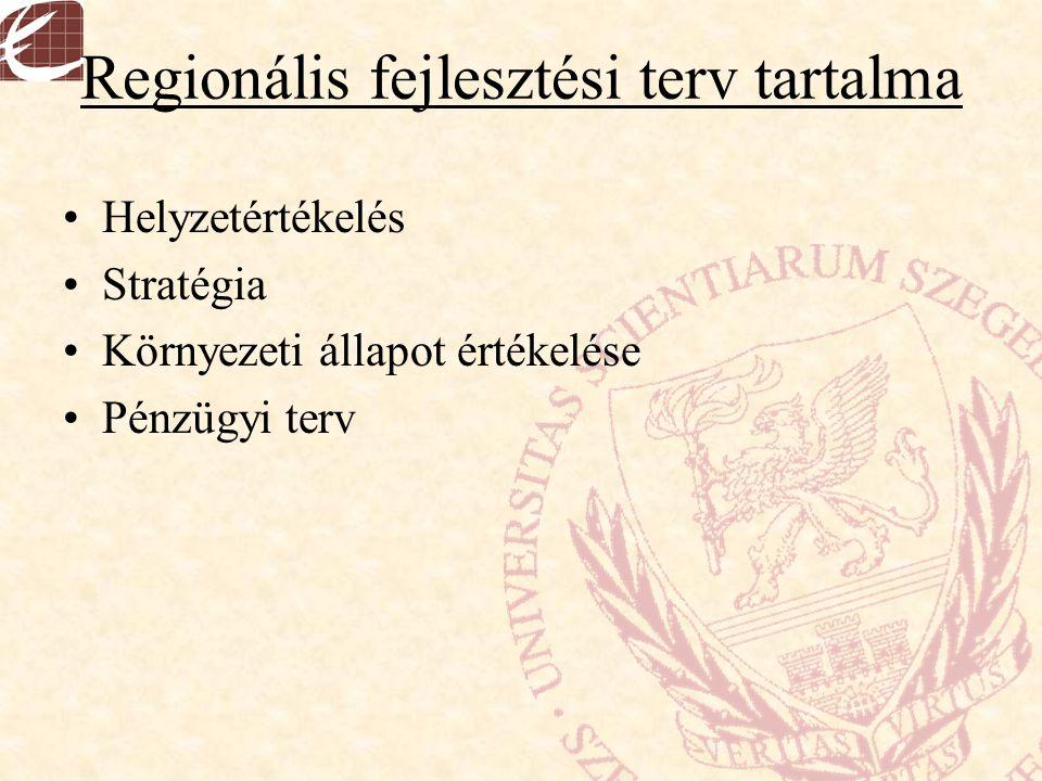 Regionális fejlesztési terv tartalma