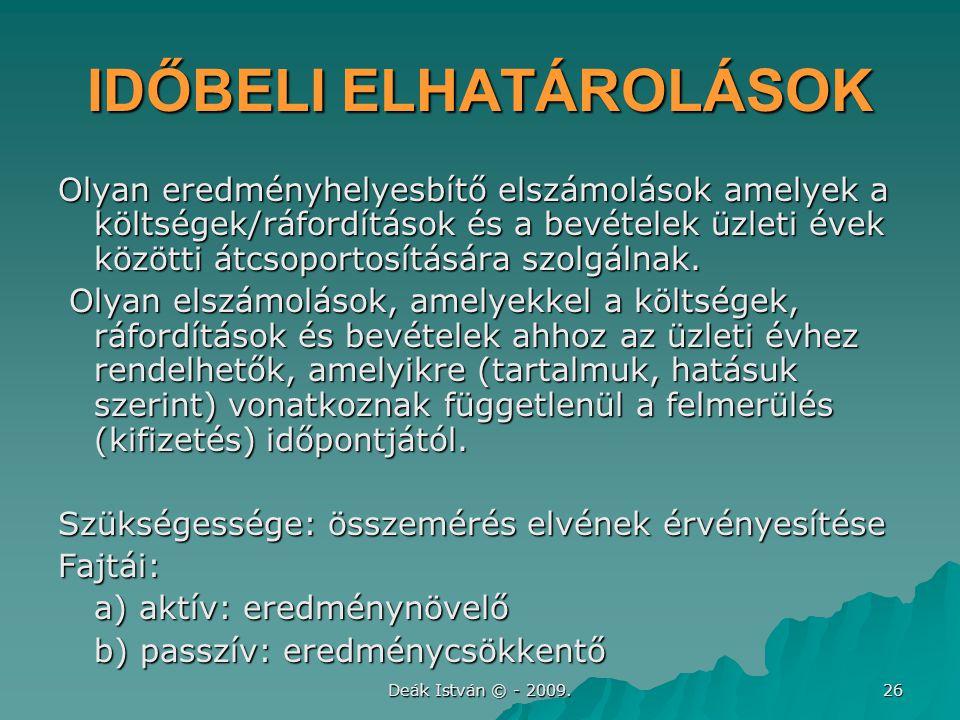 IDŐBELI ELHATÁROLÁSOK