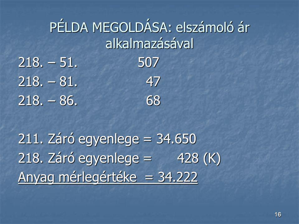 PÉLDA MEGOLDÁSA: elszámoló ár alkalmazásával