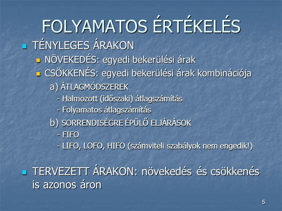 FOLYAMATOS ÉRTÉKELÉS TÉNYLEGES ÁRAKON