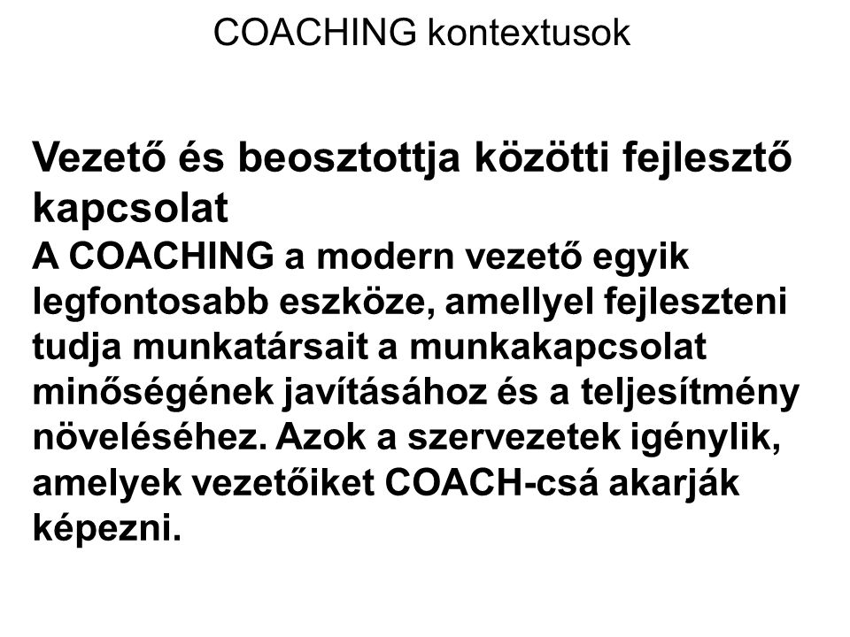 COACHING kontextusok