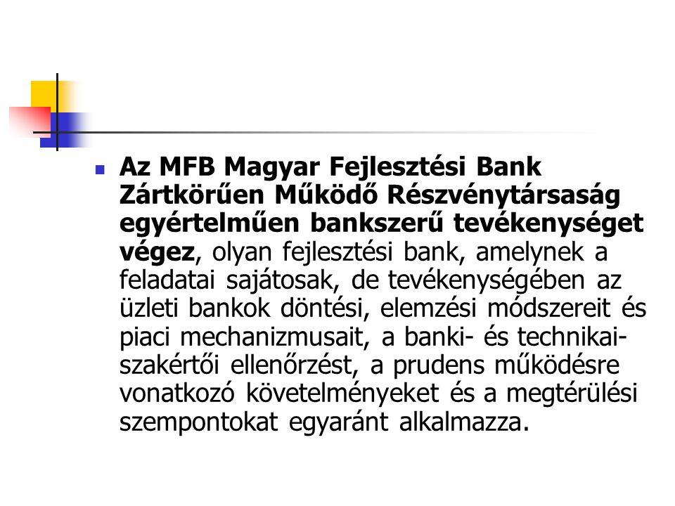 Az MFB Magyar Fejlesztési Bank Zártkörűen Működő Részvénytársaság egyértelműen bankszerű tevékenységet végez, olyan fejlesztési bank, amelynek a feladatai sajátosak, de tevékenységében az üzleti bankok döntési, elemzési módszereit és piaci mechanizmusait, a banki- és technikai-szakértői ellenőrzést, a prudens működésre vonatkozó követelményeket és a megtérülési szempontokat egyaránt alkalmazza.
