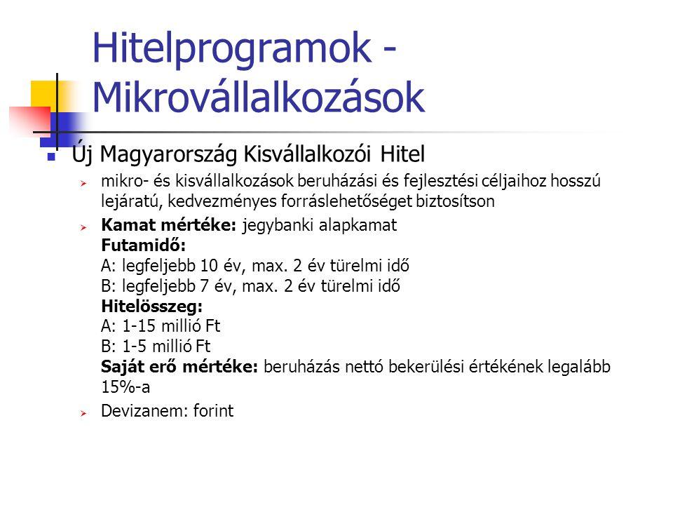 Hitelprogramok - Mikrovállalkozások
