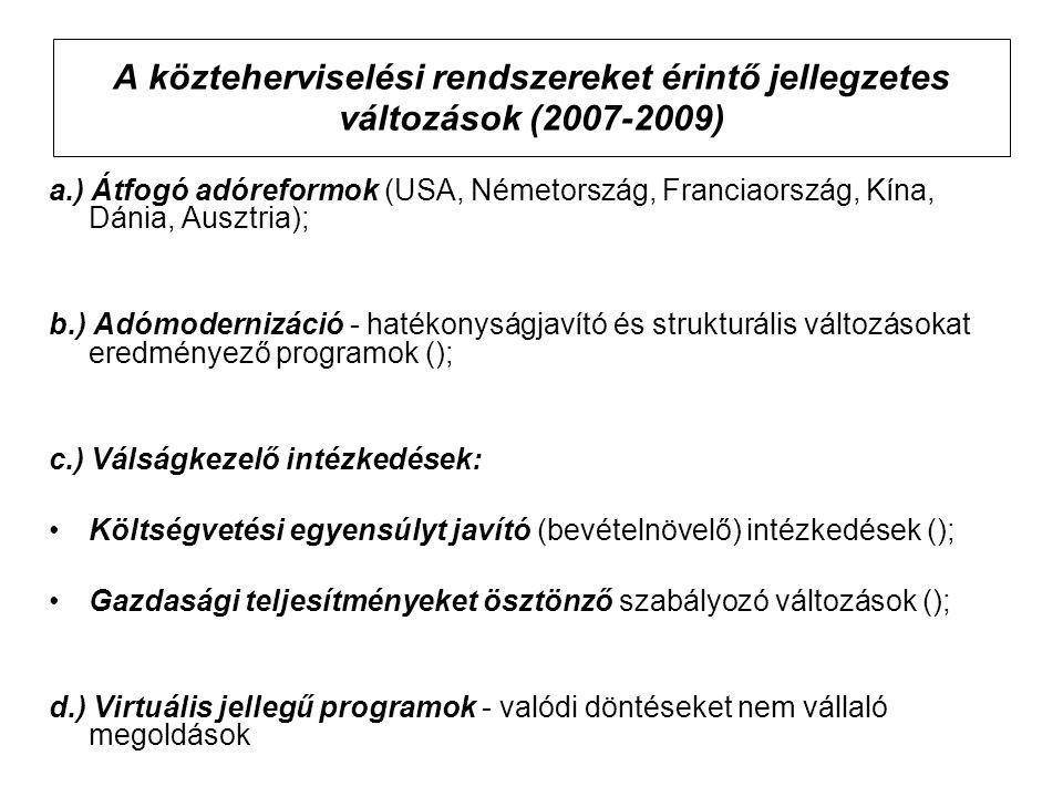 A közteherviselési rendszereket érintő jellegzetes változások (2007-2009)