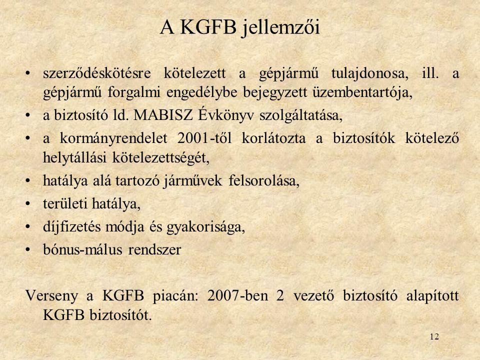 A KGFB jellemzői szerződéskötésre kötelezett a gépjármű tulajdonosa, ill. a gépjármű forgalmi engedélybe bejegyzett üzembentartója,