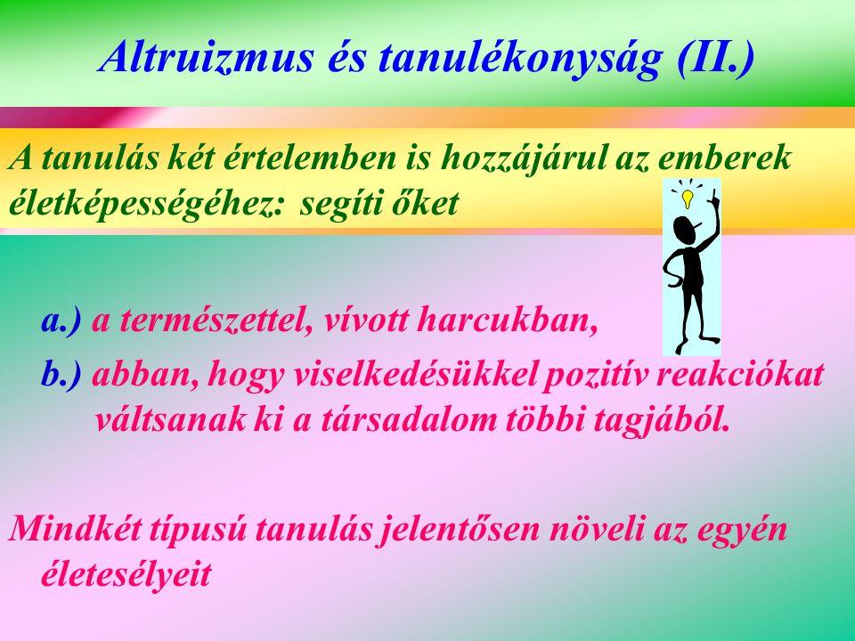 Altruizmus és tanulékonyság (II.)