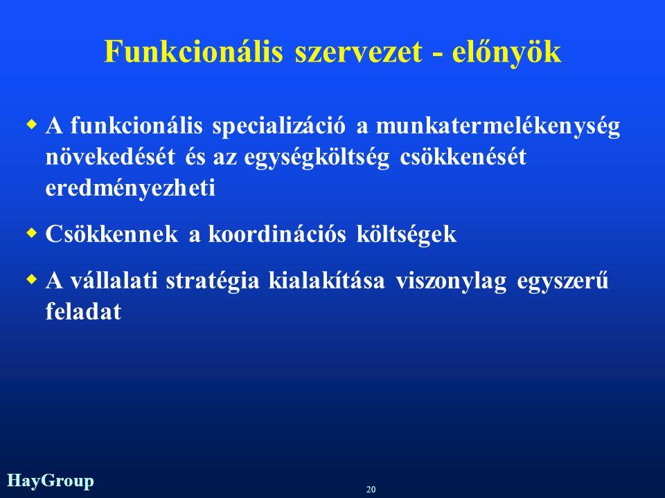 Funkcionális szervezet - előnyök