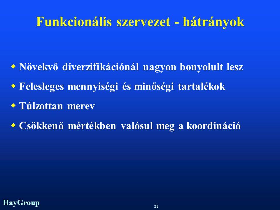 Funkcionális szervezet - hátrányok