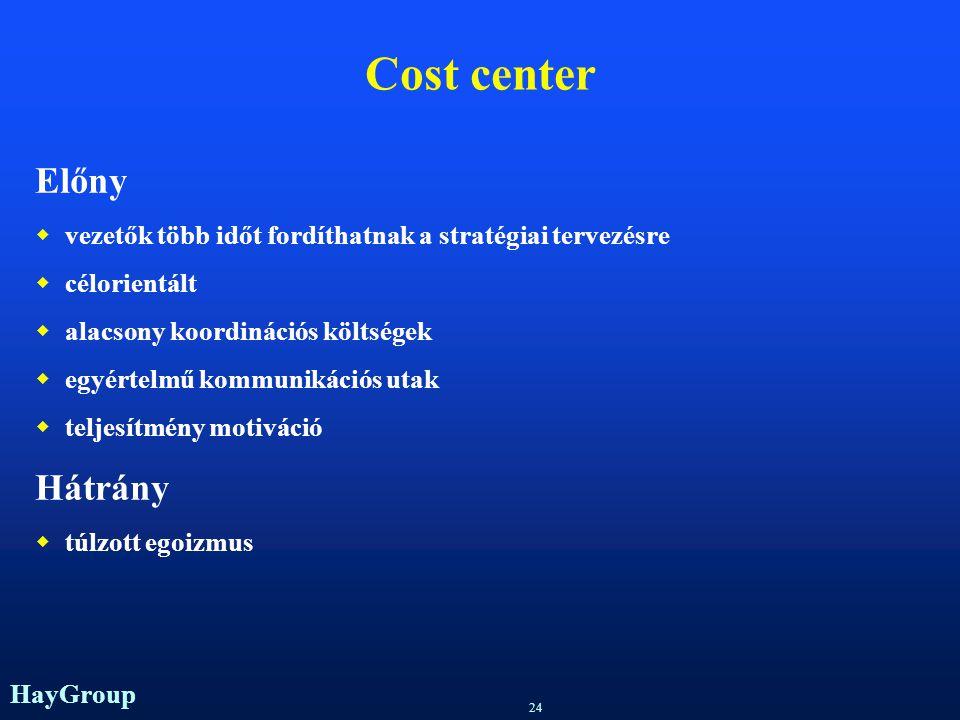 Cost center Előny Hátrány