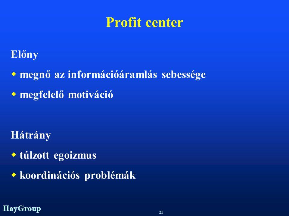 Profit center Előny megnő az információáramlás sebessége