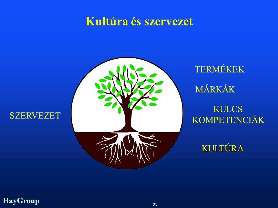 Kultúra és szervezet TERMÉKEK MÁRKÁK KULCS KOMPETENCIÁK SZERVEZET