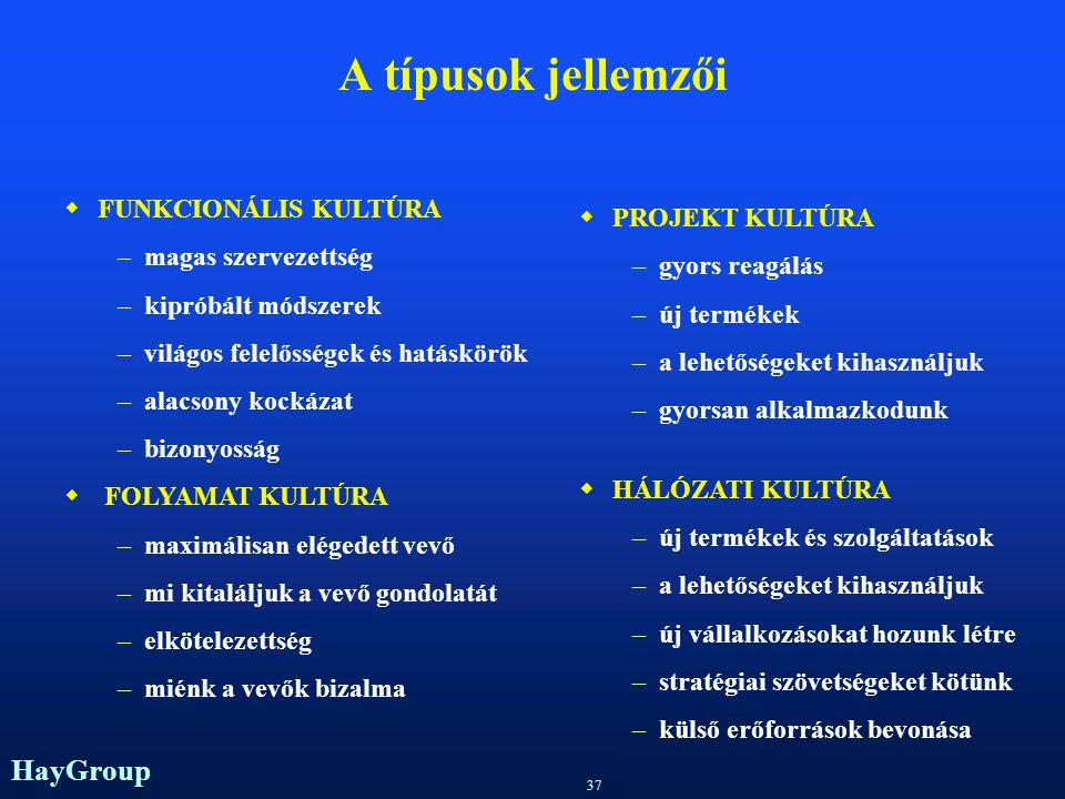 A típusok jellemzői FUNKCIONÁLIS KULTÚRA PROJEKT KULTÚRA