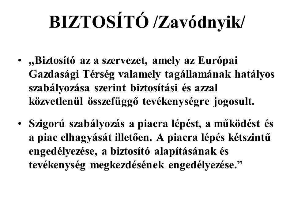 BIZTOSÍTÓ /Zavódnyik/