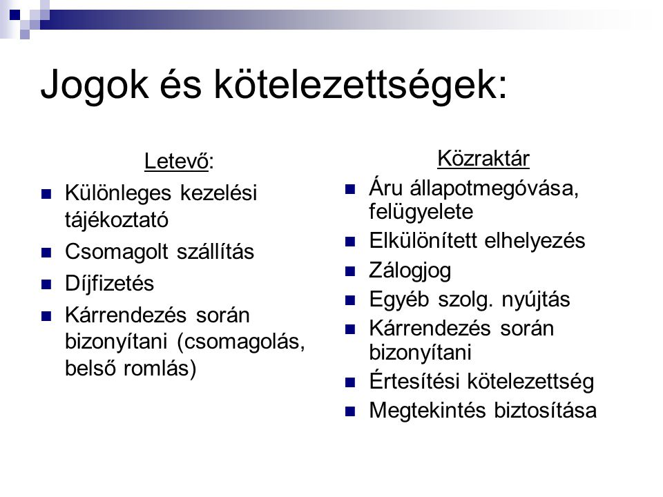 Jogok és kötelezettségek: