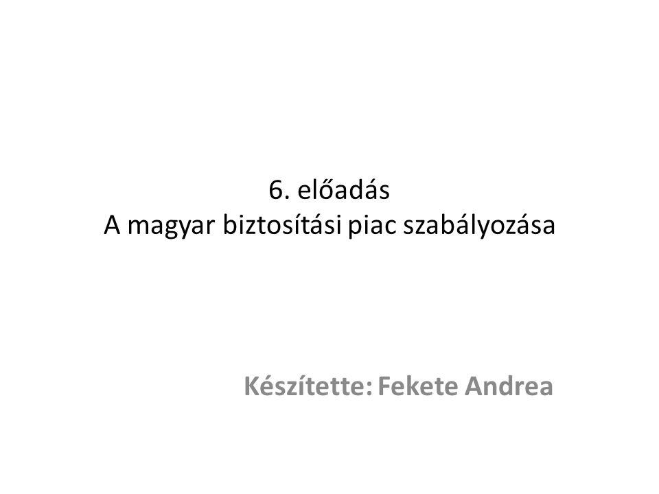 6. előadás A magyar biztosítási piac szabályozása